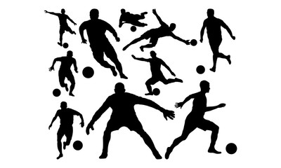 football / soccerball silhouette set collection