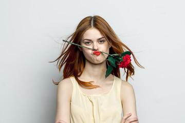 sad woman with flower