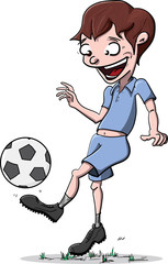 Young Football Player Character, Hand Drawn Illustration