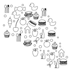 figure cloud color food blackground icon, vector illustraction design
