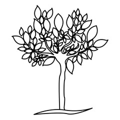 figure tree with many leaves icon, vector illustraction design