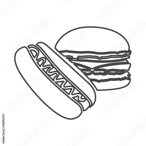 Figure hot dog and hamburger icon vector illustraction design fi - Figure libre architecture ...