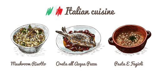 Italian menu colorful illustration.
