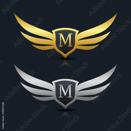 """Wings Shield Letter M Logo Template "" Stock image and ..."
