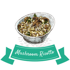 Mushroom Risotto colorful illustration.