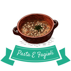 Pasta E Fagioli colorful illustration.