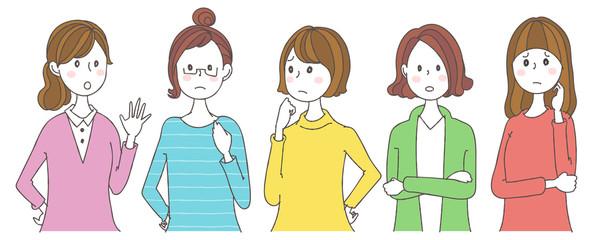 女性グループのイラスト