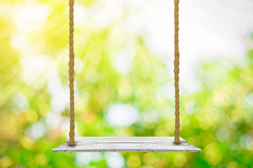 Empty swing on nature background