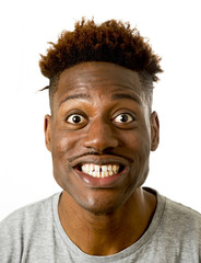 young friendly and happy afro american man smiling excited and posing cool and cheerful isolated