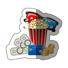 colorful sticker with popcorn cup and glasses 3D with movie tickets and credit card vector illustration