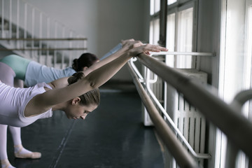 Female ballet dancers doing exercising at the ballet bare