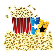 color background with butter popcorn container and movie tickets vector illustration