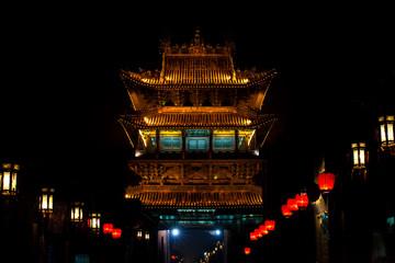 Ancient Chinese Gateway in Pingyao, China at Night