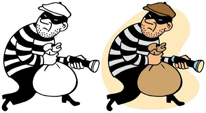 A burglar sneaking off with stolen loot
