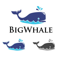 Big Whale Spouting Out Water Logo Image