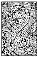 Ouroboros, dragon or snake. Engraved fantasy illustration. See all collection in my portfolio