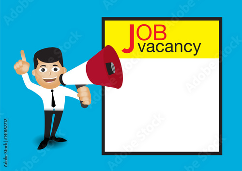 Man holding megaphone job vacancy announcement template stock man holding megaphone job vacancy announcement template maxwellsz