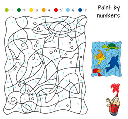 Marine life. Paint by numbers. Educational puzzle game for children. Coloring book. Cartoon vector illustration