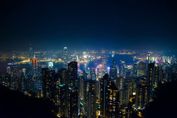 top view of Hong Kong skyline view from kowloon side,colorful night life,cityscape