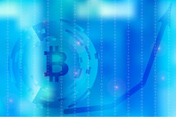 Vector picture with blurred background on for illustration of movement in digital business with binary code and bitcoin symbol in blue