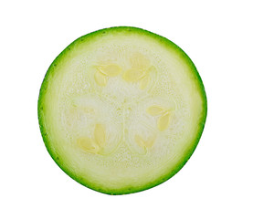 Fresh cutted zucchini isolated on a white background