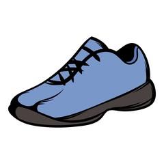 Single blue running shoes icon cartoon