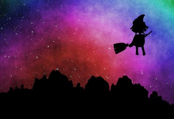 Cartoon witch silhouette flying on broomstick in the evening