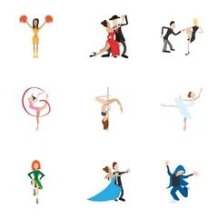 Types of dances icons set, cartoon style