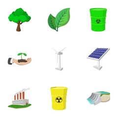 Types of energy icons set, cartoon style