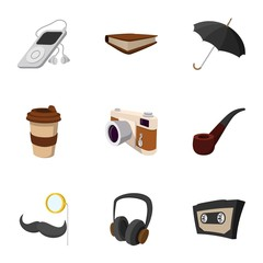 Hipster culture icons set, flat style