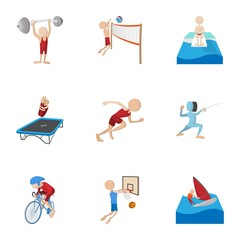 Professional sports icons set, cartoon style