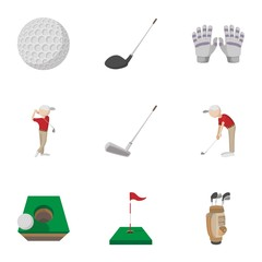 Training golf icons set, cartoon style