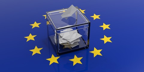 Ballot box on a european union flag. 3d illustration