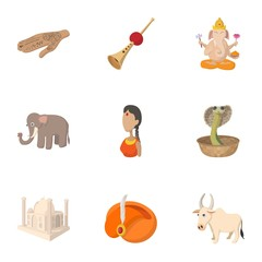 Country of India icons set, cartoon style