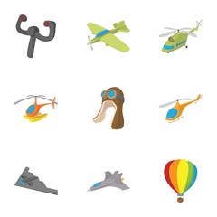 Flying device icons set, cartoon style