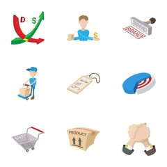 Marketing store icons set, cartoon style