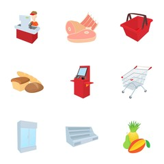 Grocery store icons set, cartoon style