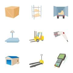 Cargo packing icons set, cartoon style