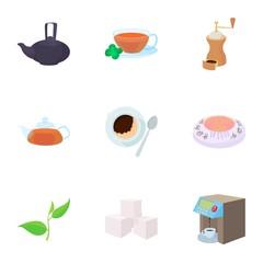 Beverage icons set, cartoon style