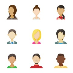 Avatar of different people icons set