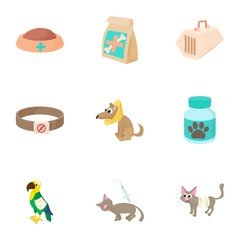 Veterinary animals icons set, cartoon style