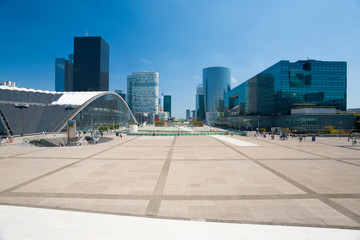 La Defense Square Cityscape in Paris, France. Horizontal