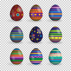 Vector set of realistic easter eggs isolated on transparent background.