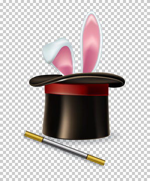 Vector rabbit ears appear from the magic hat and magic wand isolated on transparent background.