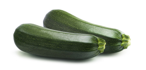 Parallel zucchini isolated on white background