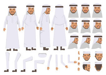 Arab Man character creation set. Icons with different types of faces and Islamic head scarf men clothing style, emotions,  front, rear, side view of male person. Moving arms, legs. Vector