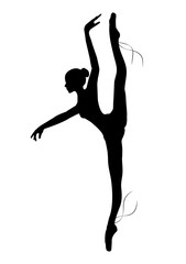 Silhouette of the ballerina on a white background , sketch , vector. Ballet, dance.