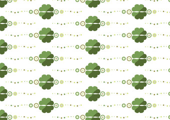 Abstract art green flowers and dot circle pattern vector on white background