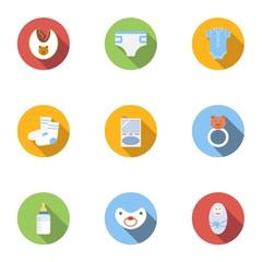 Newborn icons set, flat style