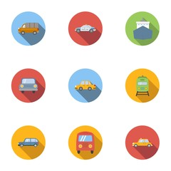 Transport icons set, flat style